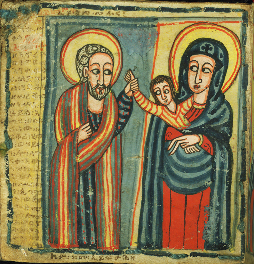 Painted family portrait of Joseph, Mary, and Jesus