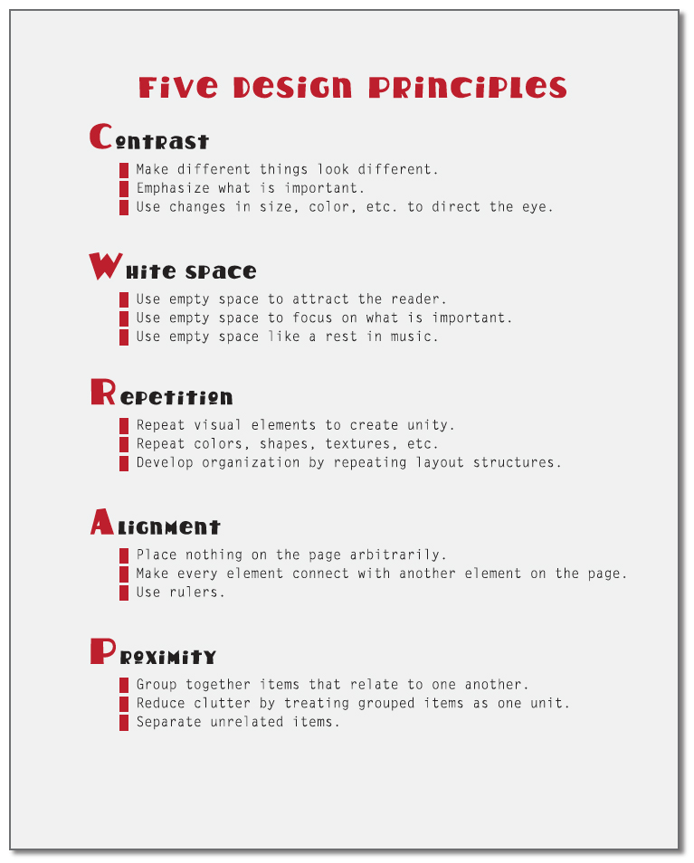 List Principles Of Design : Basic design for writers the good page