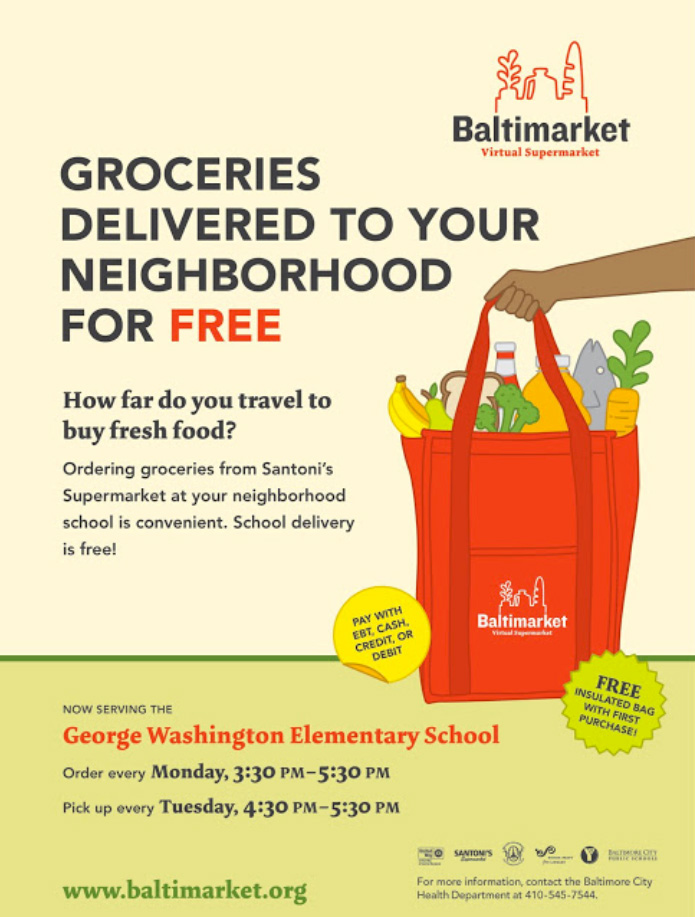 Poster advertising groceries delivered for free at an elementary school in Baltimore