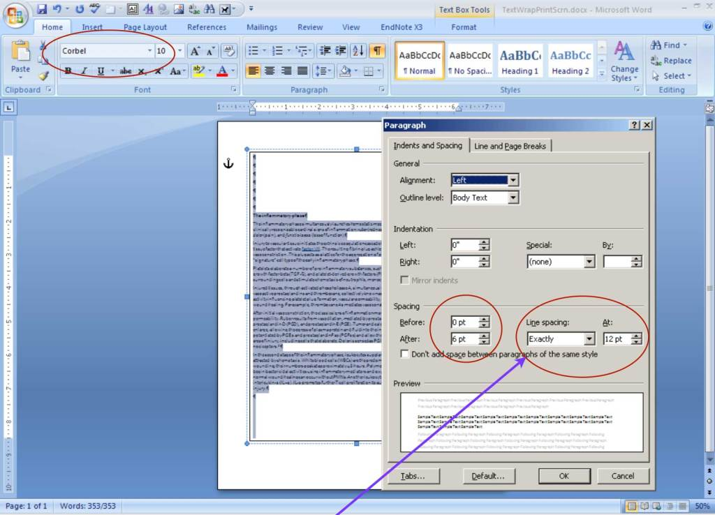 Screenshot of Paragraph Dialogue Box in Ms Word