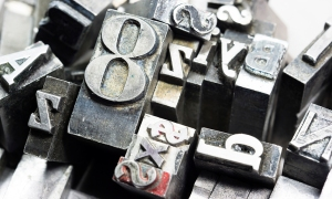 Photograph of old metal letterpress letters