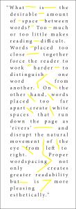 Justified text with loose wordspacing