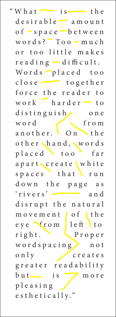 Justified text with loose word-spacing and loose letter-spacing