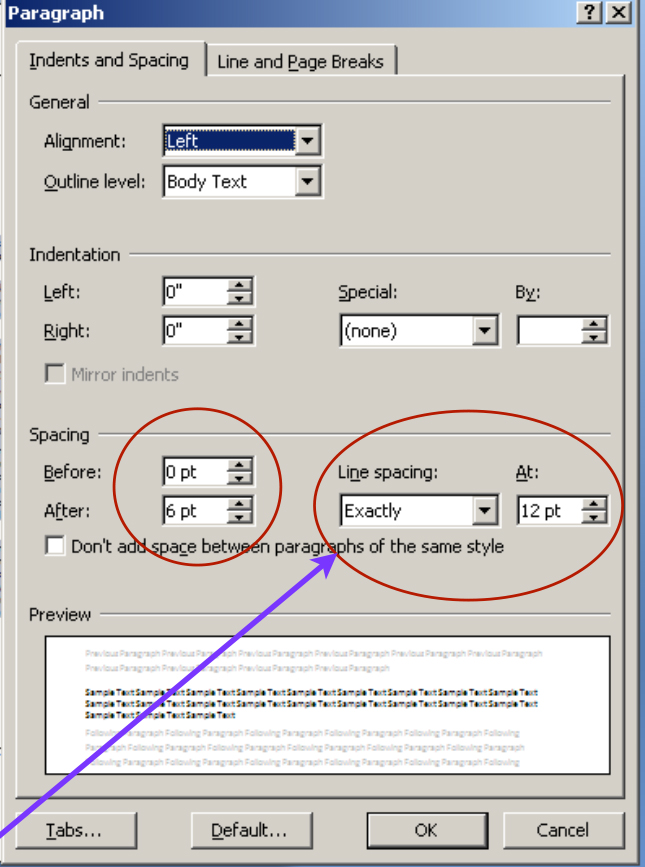 Screenshot showing the Indents and spacing tab in the paragraph dialogue box for Ms Word