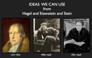 Photographs of Georg Wilhelm Friedrich Hegel Hegel,  Sergei Eisenstein, and Gertrude Stein with text: Ideas we can use from Hegel and Eisenstein and Stein