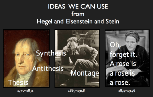 Photographs of Georg Wilhelm Friedrich Hegel Hegel,  Sergei Eisenstein, and Gertrude Stein with text: Ideas we can use from Hegel and Eisenstein and Stein and the words: thesis, antithesis, synthesis, montage, and oh, forget it, a rose is a rose is a rose.