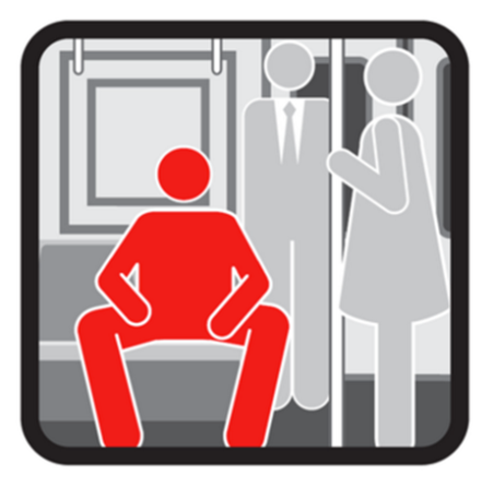 MTA subway poster about manspreading. Part of New York's Transit Courtesy Campaign