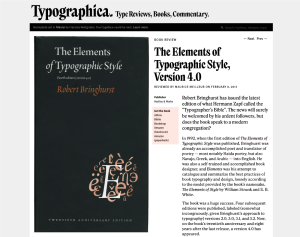 "Book cover of ""The Elements of Typographic Style"" by Robert Brihnghurst"