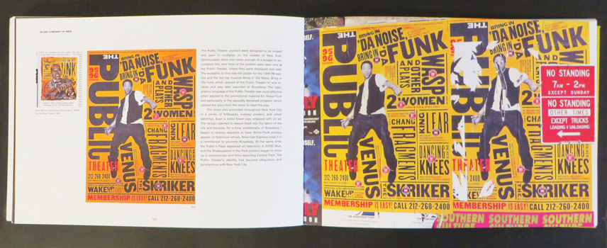 "Pages from ""Make It Bigger"" by Paula Scher showing her posters for ""Bring in Da Funk, Bring in Da Noise"" at the Public Theater in NYC"
